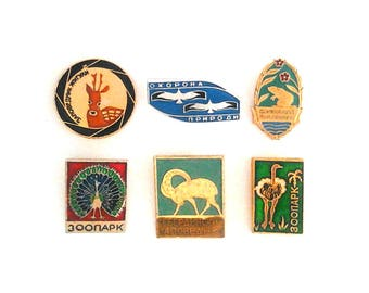 Vintage Soviet pin badges - Animal, zoo, birds / USSR, 1970s