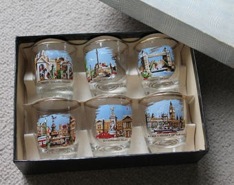 Vintage Set Six 'London' Souvenir Tot Glasses