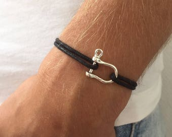 925 sterling silver boat shackle bracelet