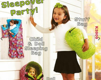 OUT OF PRINT Kwik Sew sewing pattern K3909 Childrens/Dolls Sleeping Bags & Doll Carrier, Sleepover Party - new and uncut
