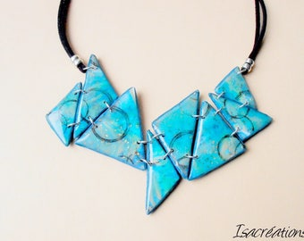 bib necklace original triangle shades of green resin