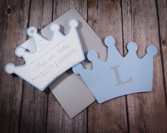 Crown invitation etsy prince crown invitation blue and silver boy baby shower crown invitation baptism stopboris Image collections