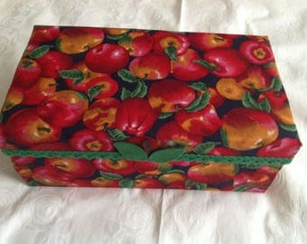 Cardboard box decorated with fabric and felt