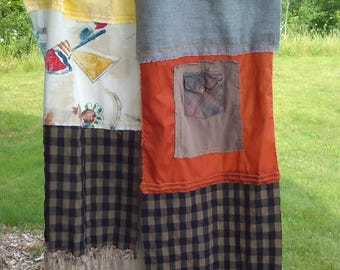 Handmade Upcycled Scarf Boho Patchwork Hippie Festival Free People Inspired