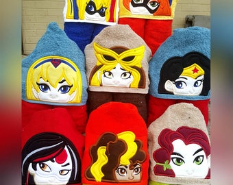 Super Hero Girls/ DC Super Girls Hooded Towel with FREE Embroidered Name