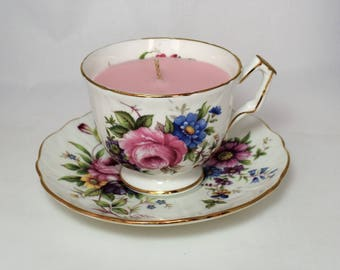 Vintage Tea Cup Candle. Aynsley English Fine Bone China Tea Cup and Saucer. Rose Soy Wax.