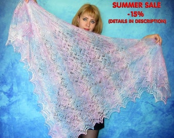 Hand knitted shawl,russian shawl,warm wrap,lace shawl,goat down shawl,square wool wrap,handmade cover up,cape,kerchief,throw,gift for her