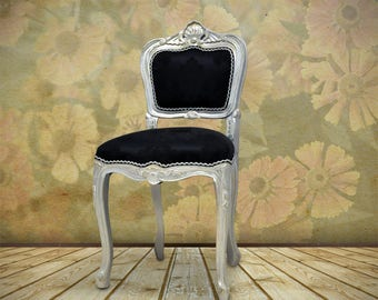 Black & Silver French Louis Bedroom/Occasional Chair.