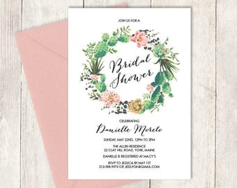 Floral Bridal Shower Invitation DIY / Pink Flowers and Cactus Succulent / Mexican Fiesta ▷ Personalized and emailed printable file