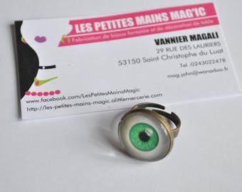 "ring adjustable cabochon 2.5 cm ""you beautiful green eyes"""