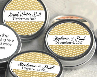 Personalized Christmas Mint Tins, Corporate Christmas Favors, Wedding Favors, Mint Favor Tins -  Gold Chevrons - Set of 12 - Party Ideas