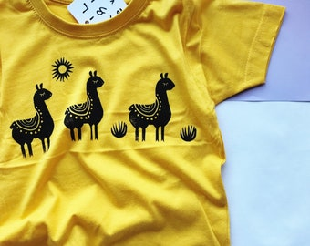 Llama toddler t-shirt, handprinted llamas kids tee, llama print cotton top