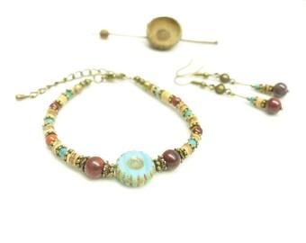 Christmas gift box * Antik Blue *. Set bracelet litho + matching earrings.