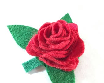Felt Red Rose Dog Collar Flower for Valentines Day Wedding or Marriage Proposal - Red flower dog collar accessory - Girl dog collar flower