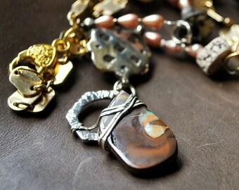 "Long necklace Opal of Australia ""Flag"""