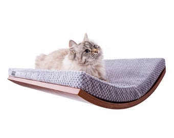 curved cat shelf wall mounted shelf cat furniture cushion SOFT GRAY cat shelve bed for cat wall shelf cat bed pet supplies cosyanddozy