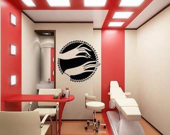 Wall Sticker Decals Room Design Decor Art Pattern Nail Salon Manicure  Pedicure Polish Beauty Finger Brush