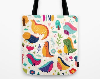 "TOTE BAG (13"" x 13"") with cute dinosaurs"