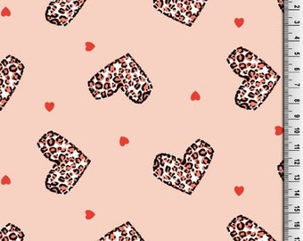 Little Darling Coral Heart Print Jersey Knit Fabric,Jersey Fabric,Cotton Jersey Fabric,Jersey Knit - Half Metre