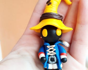 Vivi final fantasy 9 Keychain or Necklace handmade chibi gamer