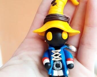 Vivi final fantasy 9 Keychain or Necklace handmade chibi gamer