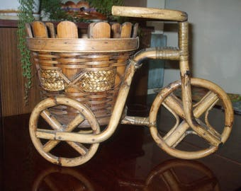 on sale!boho 70s Vintage bamboo/rattan large Basket Planter Pot Bicycle Planter Pot Rattan Bamboo Boho Home Decor