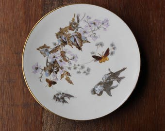 Vintage ERNST WAHLISS Birds Insects Gold Gilted Decoration Salad Plates 2682 Set 6 RARE