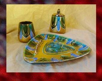 Vintage BRASTOFF Lighter Ashtray n Cig Holder, Early 1960s Iconic Blue Green Gold Hand Painted Smoking Set, Fine China Brastoff Collectible