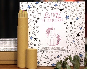 Unicorn Colouring Book - A-Z of Unicorns: A Magical Colouring Book - Coloring pages - Gift for her - Unicorn Gift  - Neon Magpie