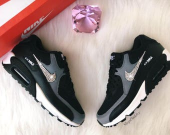 Swarovski Nike Air Max 90 Premium Shoes Black Blinged Out With Swarovski Crystals Bling Nike Shoes