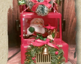 Old Royal Mail Postal Truck * Santa's Delivery Van * Christmas Tree * Vintage Flocked Santa * Pixies & Elves * Christmas Decoration * Kitsch