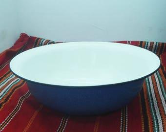 Large Vintage Enamel Bowl, Large Metal Bowl, Big Soviet Enamel Basin, Metal Basin,Soviet Purple Basin, Enamelled metal basin,Enamel Pot,USSR