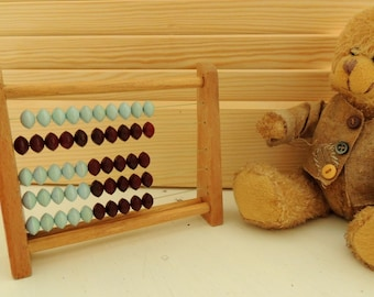 Vintage School Abacus, Wooden Abacus, 5 Rows, Waldorf Inspired, Wooden Montessori Toy, Educational Toy, Learning Game, Collectibles