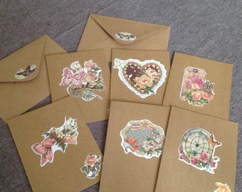Set of 6 folded cards with envelopes, flowers and butterflies collection.