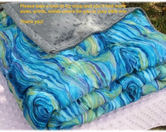 Weighted Blanket Small (37x52) kid weighted blanket, autism blanket, Anxiety - Abstract ocean