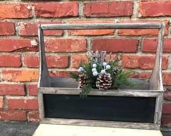 Rustic Wooden Chalkboard Organizer, Wood Tool Caddy Box, favor box, favors, Shabby, rustic, Wood Caddy, Wedding Centerpiece, Summer, vintage