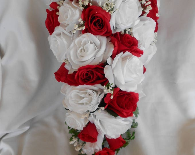Silk Cascade bridal wedding bouquet,  red, and white
