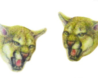Ferocious Cougar AKA Panther, Mountain Lion Post style Earrings