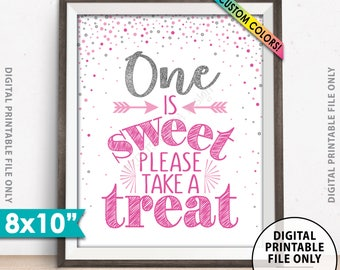 "One is Sweet Please Take a Treat First Birthday Party Sweet Treats, Candy Bar, Birthday Cake, Silver Glitter & Custom Colors 8x10"" PRINTABLE"