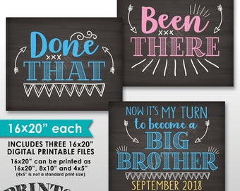 "Been There Done That Now It's My Turn to be a Big Brother, 4th Baby Pregnancy Announcement, Chalkboard Style PRINTABLE 8x10/16x20"" Signs"