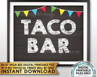 "Taco Bar Sign, Taco Station Fiesta Taco Sign, Football Wedding Shower Birthday Graduation, PRINTABLE Chalkboard Style 8x10"" Instant Download"