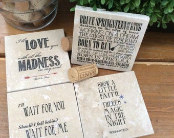 Bruce Springsteen travertine marble coasters - Set of 4