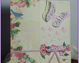 """Handmade greetings card """"With Love"""" butterflies, flowers,rose, bird, with embellishments,"""