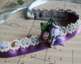 Choker / necklace/wedding necklace romantic purple and sky blue for ceremony