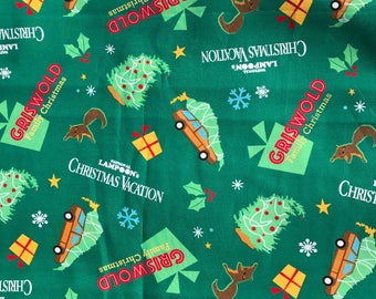 Griswold Christmas Vacation Fabric, on Green Background - National Lampoon ~100% Cotton~Fat Quarter/ FQ or Half Yard
