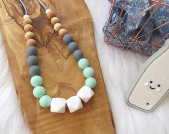 Silicone Teething Necklace | Nursing Necklace | Modern Geometric Necklace - Lily