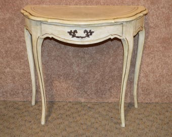 distressed french provincial demilune console table wleather
