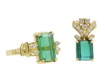 Ladies Vintage Estate 18K Yellow Gold Green Tourmaline Diamond Accent Ring & Pendant Set