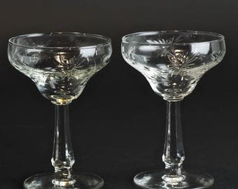 Vintage 1940 Cut Crystal Champagne Coupe Glasses, Glastonbury Lotus Thistle Pattern Libbey Commodore