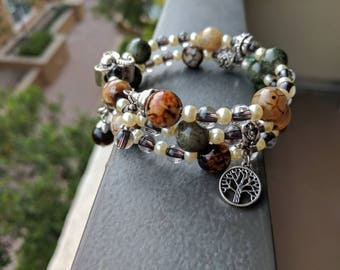 Elephant bracelet natural colored gemstone beads